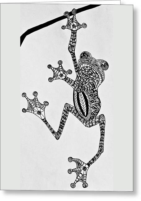 Tattooed Tree Frog - Zentangle Greeting Card by Jani Freimann