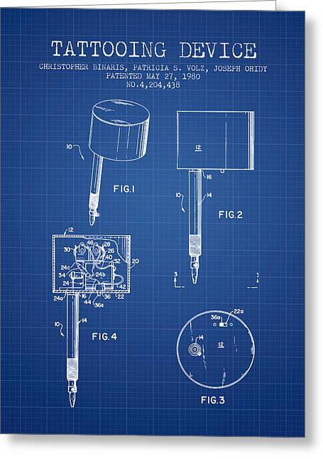 Tattoo Digital Greeting Cards - Tattooing Device Patent From 1980 - Blueprint Greeting Card by Aged Pixel