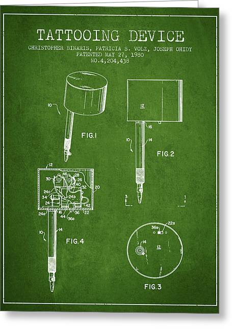 Tattoo Digital Greeting Cards - Tattooing Device Patent From 1980 - Green Greeting Card by Aged Pixel