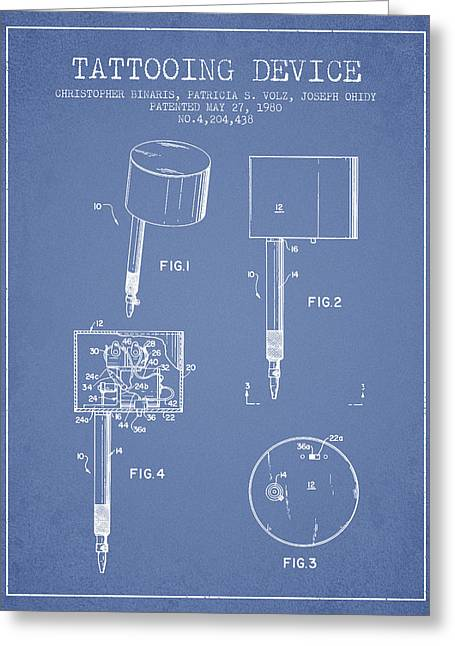 Tattoo Digital Greeting Cards - Tattooing Device Patent From 1980 - Light Blue Greeting Card by Aged Pixel