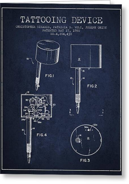 Tattoo Digital Greeting Cards - Tattooing Device Patent From 1980 - Navy Blue Greeting Card by Aged Pixel