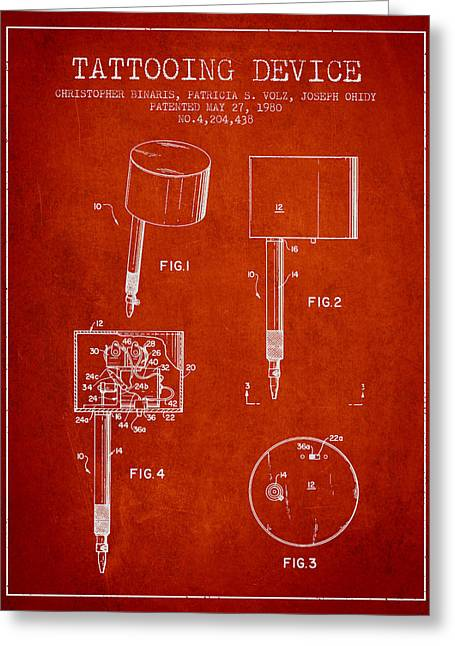 Tattoo Digital Greeting Cards - Tattooing Device Patent From 1980 - red Greeting Card by Aged Pixel