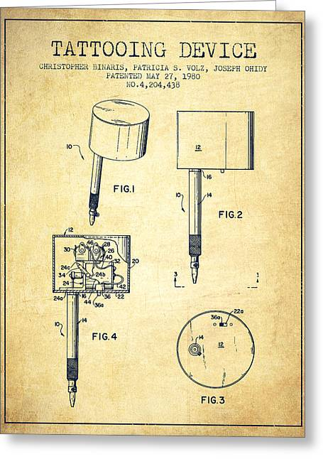 Tattoo Digital Greeting Cards - Tattooing Device Patent From 1980 - Vintage Greeting Card by Aged Pixel