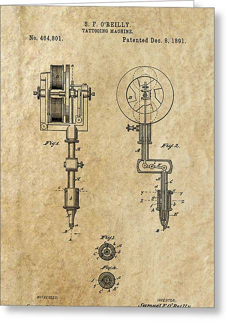 Historical Blueprint Greeting Cards - Tattooing Machine 2 Patent Art  1891 Greeting Card by Daniel Hagerman