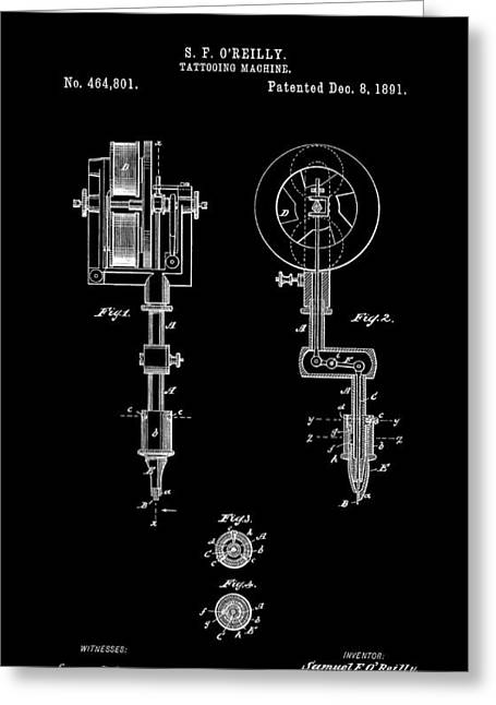 Historical Blueprint Greeting Cards - Tattooing Machine 3 Patent Art 1891 Greeting Card by Daniel Hagerman