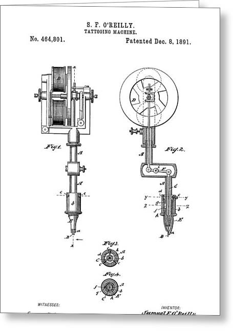 Tat Greeting Cards - Tattooing Machine Patent Art  1891 Greeting Card by Daniel Hagerman
