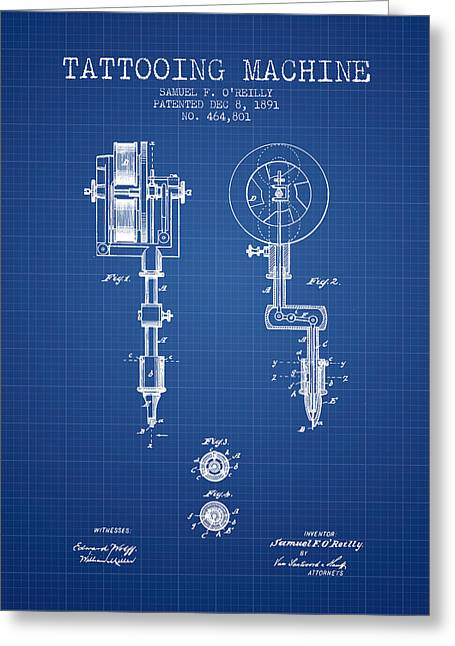 Ball Point Pen Greeting Cards - Tattooing Machine Patent from 1891 - Blueprint Greeting Card by Aged Pixel