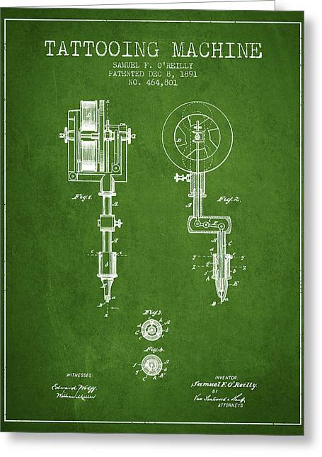 Ball Point Pen Greeting Cards - Tattooing Machine Patent from 1891 - Green Greeting Card by Aged Pixel