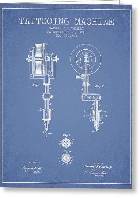 Ball Point Pen Greeting Cards - Tattooing Machine Patent from 1891 - Light Blue Greeting Card by Aged Pixel