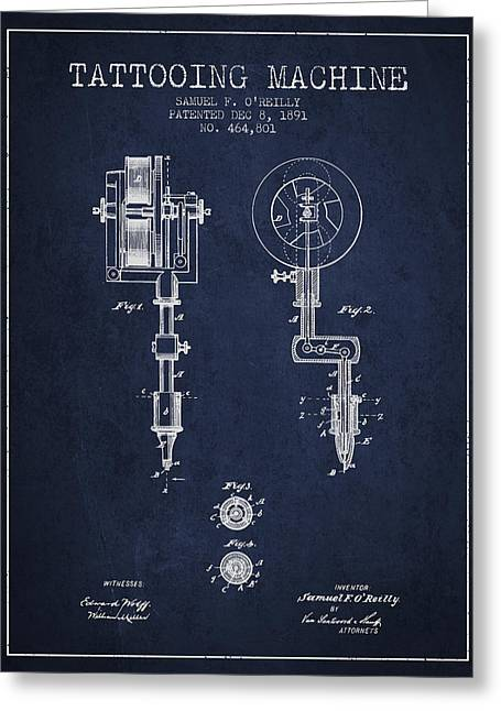 Ball Point Pen Greeting Cards - Tattooing Machine Patent from 1891 - Navy Blue Greeting Card by Aged Pixel