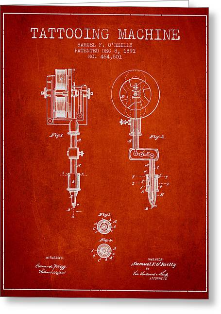 Ball Point Pen Greeting Cards - Tattooing Machine Patent from 1891 - Red Greeting Card by Aged Pixel