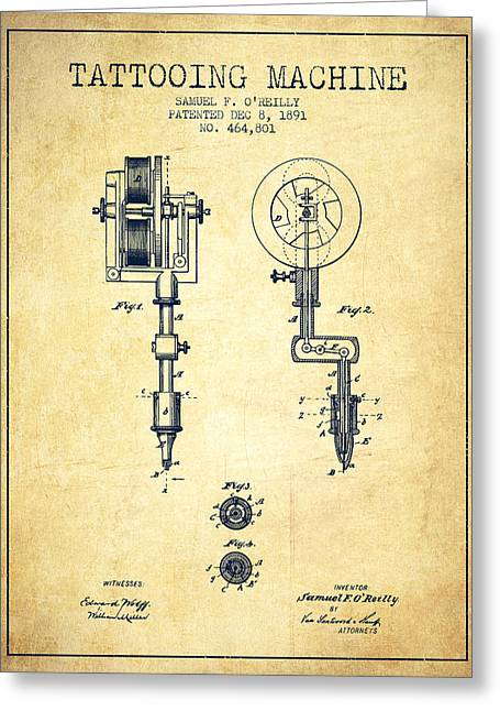 Technical Greeting Cards - Tattooing Machine Patent from 1891 - Vintage Greeting Card by Aged Pixel