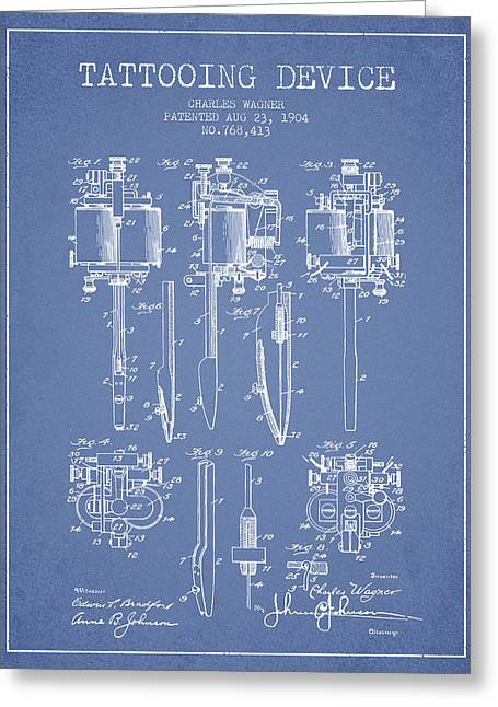 Tattoo Digital Greeting Cards - Tattooing Machine Patent From 1904 - Light Blue Greeting Card by Aged Pixel