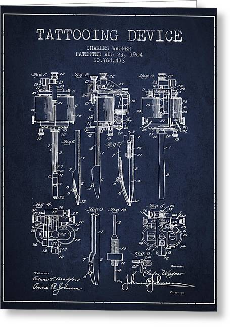 Tattoo Digital Greeting Cards - Tattooing Machine Patent From 1904 - Navy Blue Greeting Card by Aged Pixel