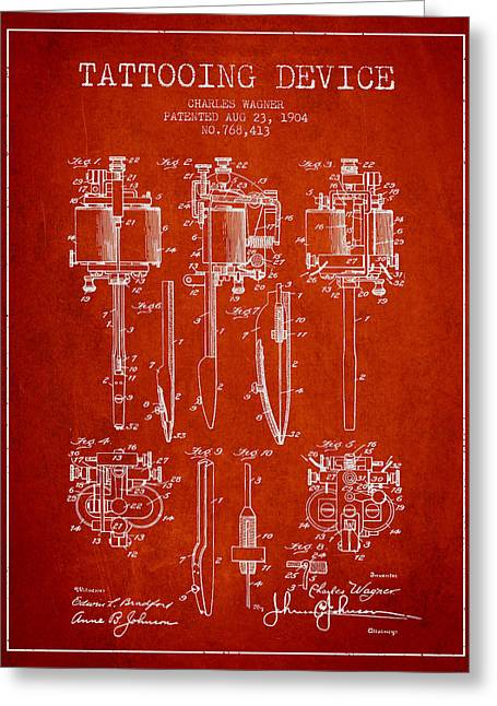 Tattoo Digital Greeting Cards - Tattooing Machine Patent From 1904 - Red Greeting Card by Aged Pixel