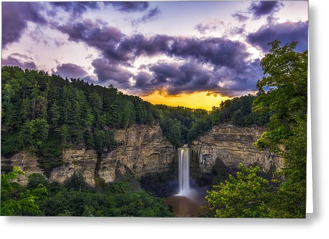 Taughannock Falls State Park Greeting Cards - Taughannock Falls at Dusk Greeting Card by Mark Papke