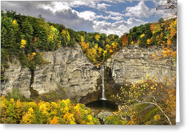 Ithaca Greeting Cards - Taughannock Falls Autumn Greeting Card by Christina Rollo