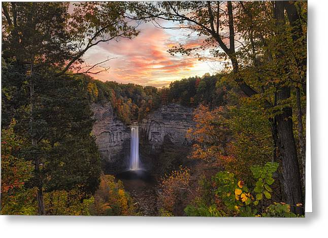Taughannock Falls Autumn Sunset Greeting Card by Michele Steffey