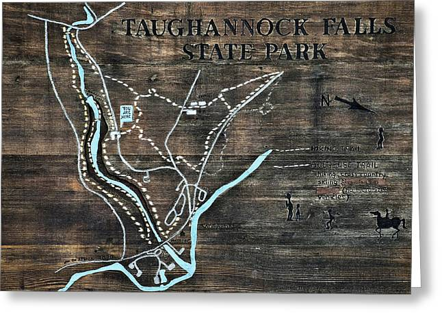 Ithaca Greeting Cards - Taughannock Falls State Park Trail Map Sign Greeting Card by Christina Rollo