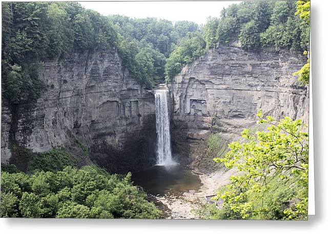 Finger Lakes Pyrography Greeting Cards - Taughannock Falls Greeting Card by Thomas Cassant