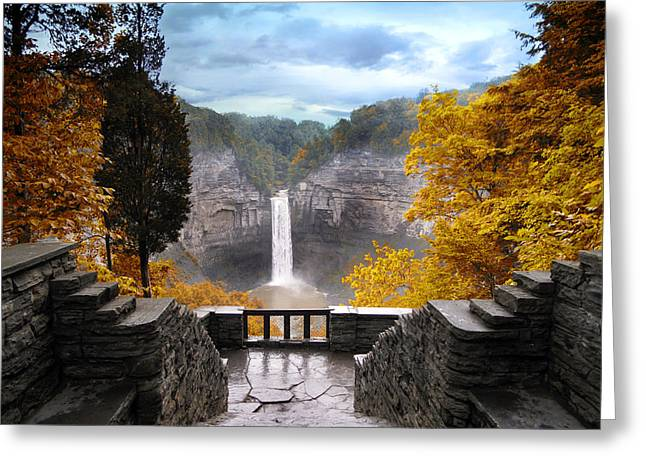 New York Vista Greeting Cards - Taughannock in Autumn Greeting Card by Jessica Jenney