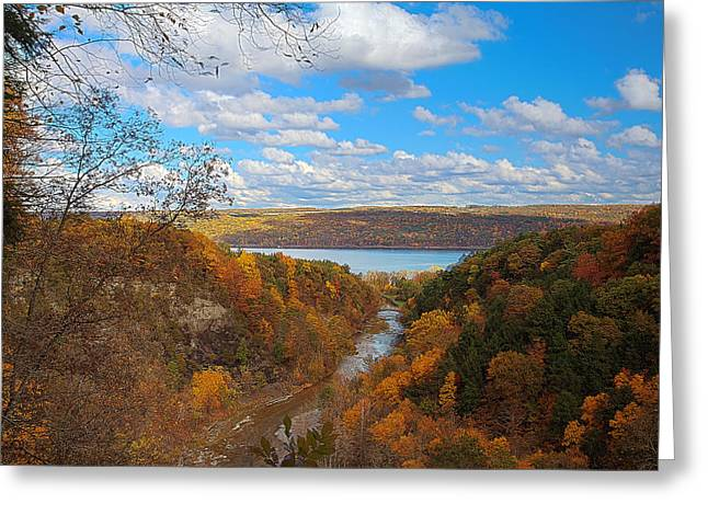 Ithaca Greeting Cards - Taughannock River Canyon In Colorful Fall Ithaca New York IV Greeting Card by Paul Ge