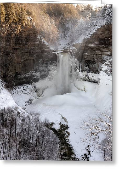 Snow-covered Landscape Greeting Cards - Taughannock winter Greeting Card by Mark Papke