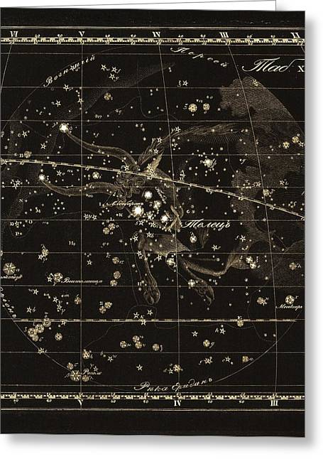 Taurus Constellation, 1829 Greeting Card by Science Photo Library