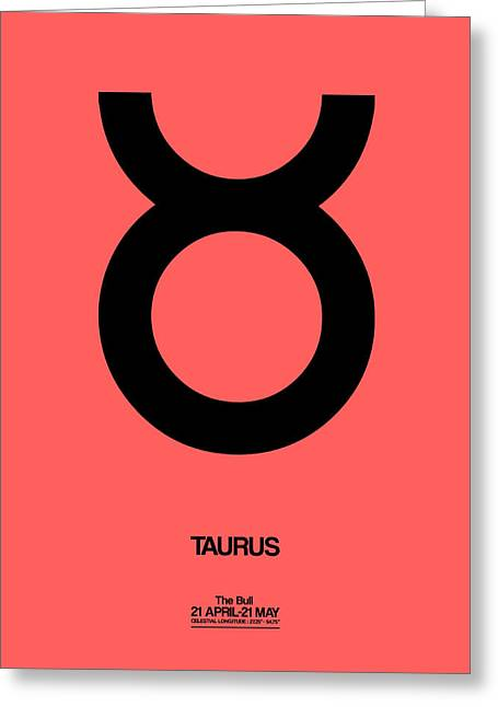 Taurus Zodiac Sign Black  Greeting Card by Naxart Studio