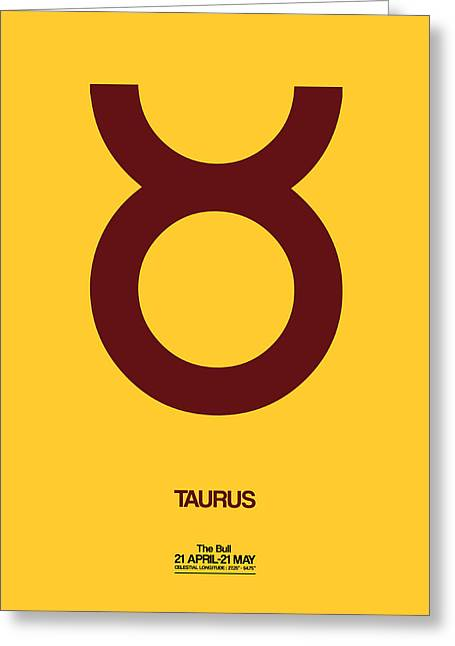 Taurus Zodiac Sign Brown Greeting Card by Naxart Studio