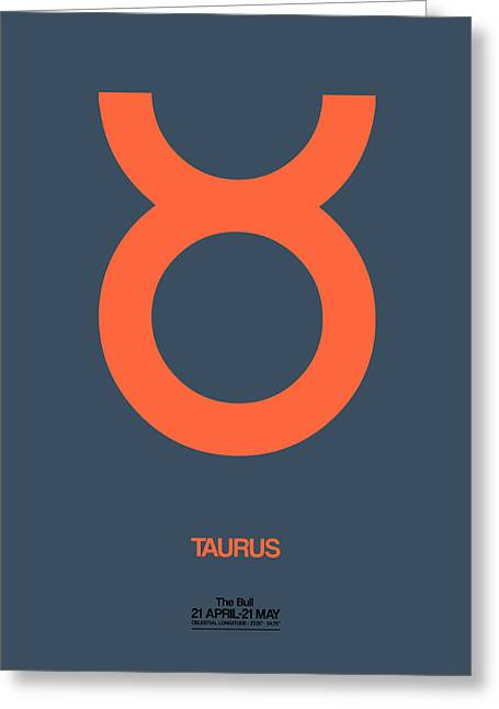 Zodiac. Greeting Cards - Taurus Zodiac Sign Orange Greeting Card by Naxart Studio