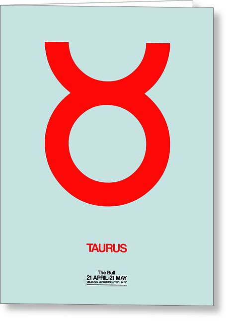 Taurus Zodiac Sign Red Greeting Card by Naxart Studio