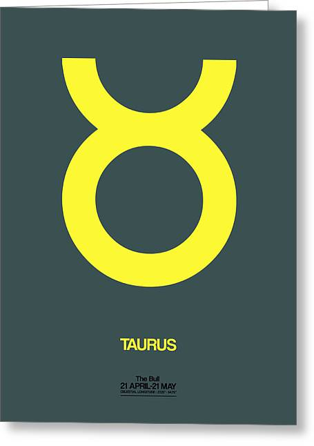 Zodiac. Greeting Cards - Taurus Zodiac Sign Yellow Greeting Card by Naxart Studio