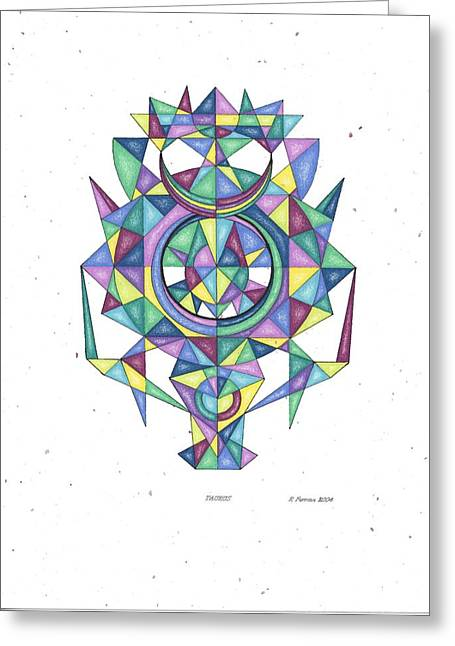 Sacred Drawings Greeting Cards - Taurus Zodiac Symbol Greeting Card by Ruthie Ferrone