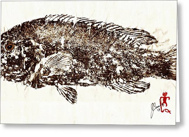 Shark Fossil Art Greeting Cards - Tautog on Rice Paper Greeting Card by Jeffrey Canha