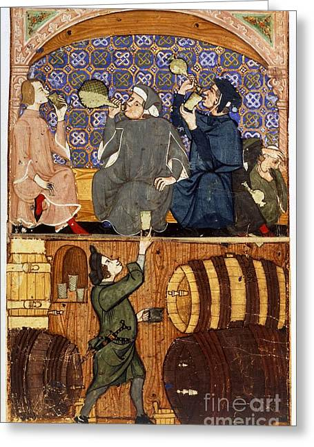 Sociology Greeting Cards - Tavern Drinking Scenes, 14th Century Greeting Card by British Library