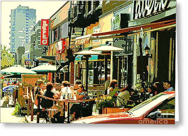Rue Prince Arthur Greeting Cards - Tavern In The Village Urban Cafe Scene - A Cool Terrace Oasis On A Busy Hot Montreal City Street Greeting Card by Carole Spandau