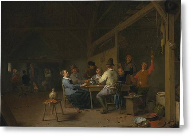 Smoker Greeting Cards - Tavern Interior With Drinkers And Smokers Greeting Card by Hendrick Maertensz Sorgh