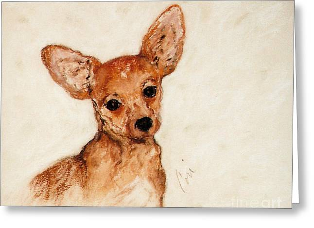 Puppies Pastels Greeting Cards - Tavi Greeting Card by Cori Solomon