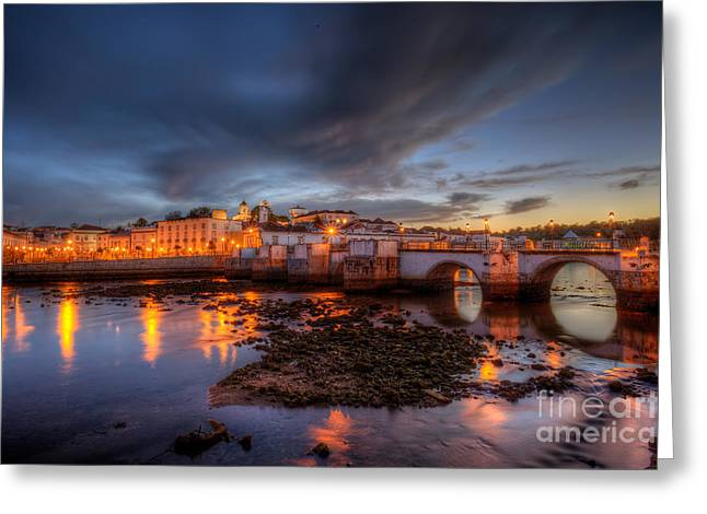 Praia De Faro Greeting Cards - Tavira At Night Greeting Card by English Landscapes