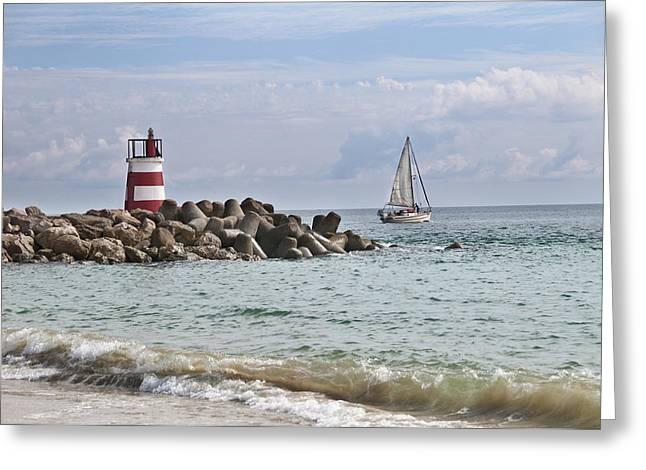 Tavira Greeting Cards - Tavira Inlet Sailing Portugal Greeting Card by Alida Thorpe