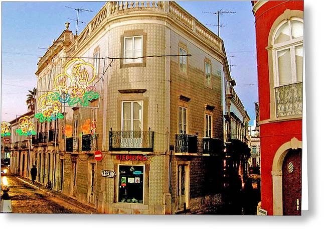 Tavira Greeting Cards - Tavira Street Corner-Portugal Greeting Card by Ruth Hager