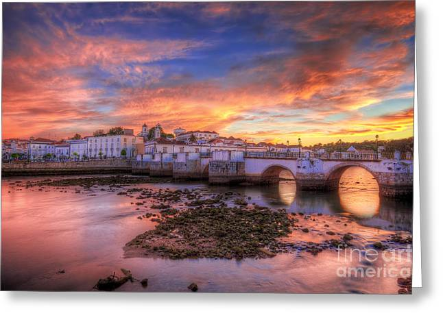 Praia De Faro Greeting Cards - Tavira Sunset Greeting Card by English Landscapes