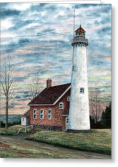 Award Greeting Cards - Tawas Point Light Greeting Card by Steven Schultz