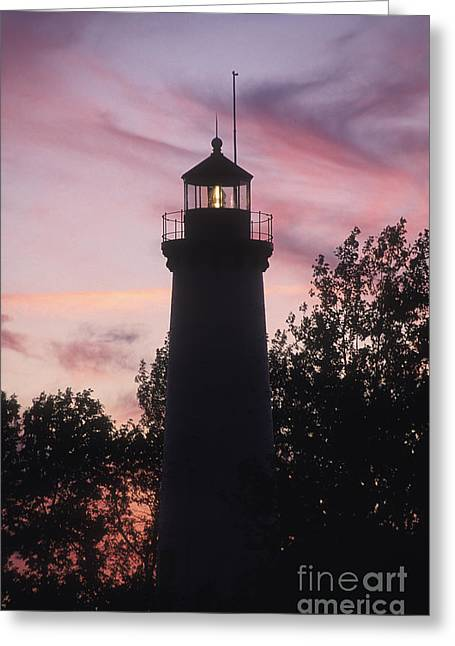North American Inland Sea Greeting Cards - Tawas Point Light Sunset - FS000822 Greeting Card by Daniel Dempster