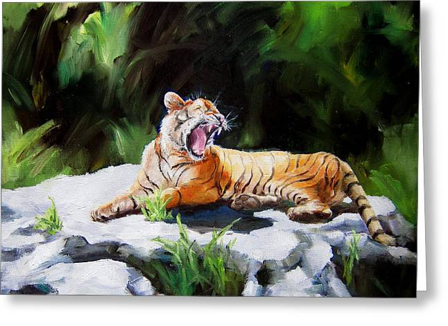 Diane Kraudelt Greeting Cards - Tawny Tiger Greeting Card by Diane Kraudelt