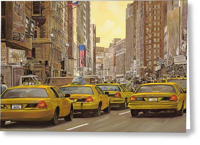 Liberty Greeting Cards - taxi a New York Greeting Card by Guido Borelli