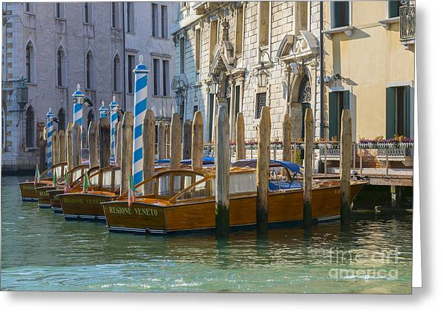 Gran Canal Greeting Cards - Taxi boats Greeting Card by Mats Silvan