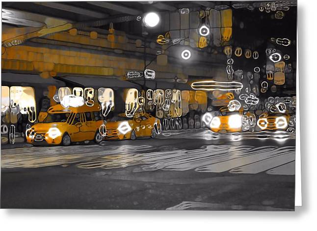 Taxi Cab Abstract Greeting Card by Dan Sproul