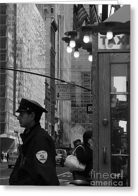 Taxi Stands Greeting Cards - Taxi Cop - New York City Greeting Card by Miriam Danar